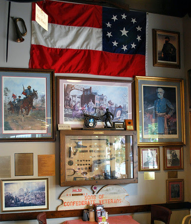 A collection of Civil War memorabilia in Big Ed's City Market.