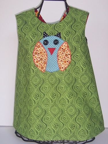 Reversible Pinafore with Owl Applique
