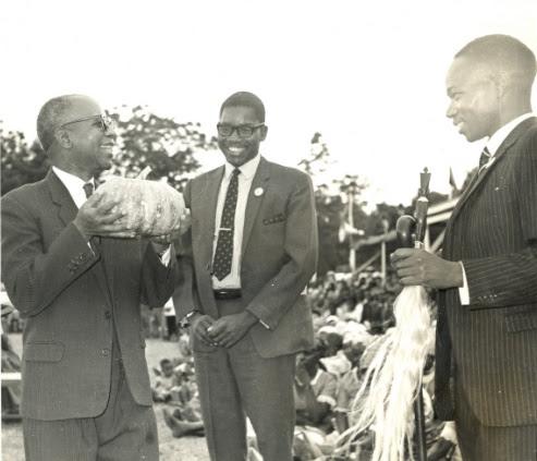 Kamuzu Banda Dr Banda, with Gwanda Chakuamba and Aleke Banda admiring crop