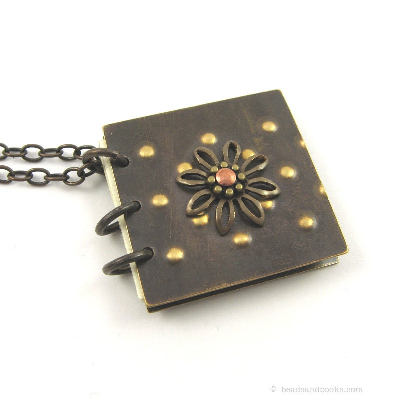 Book Necklace (Rustic Flower Pendant) - michellemach
