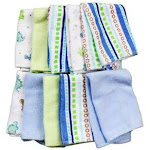 Spasilk Washcloth Set 10-Pack, Blue Lines