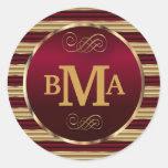 Monogram Dark Red & Gold Envelope Seal Classic Round Sticker