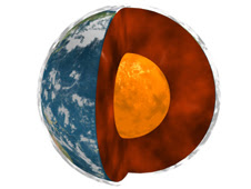 Artist concept showing Earth's molten core