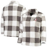 Florida State Seminoles Women's Plus Size Plaid Sherpa Quarter-Zip Pullover Jacket - Gray/White