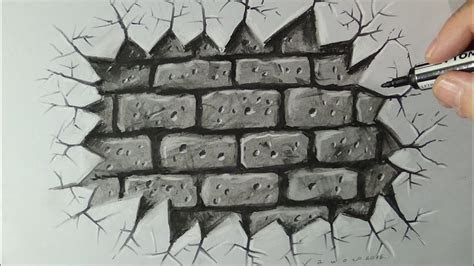 drawing  cracked brick wall time lapse youtube