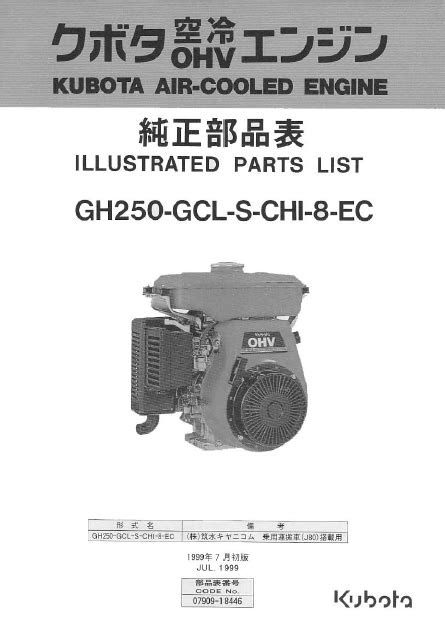Kubota Engines spare parts catalog