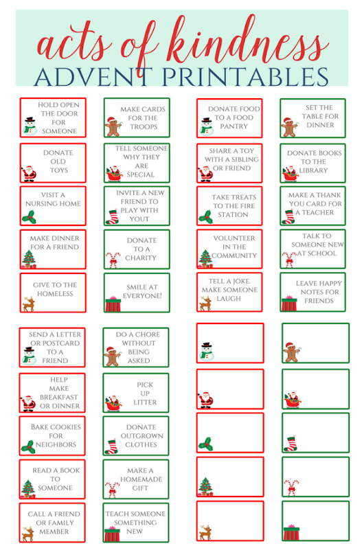 Acts of Kindness Advent Printables - Leah With Love