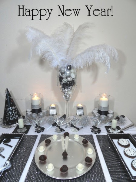 new year dessert table, new year's eve desserts, new years cookies, clock cookies, new years noisemakers, new years treats,new years black white silver party, new year party favors,black white dessert