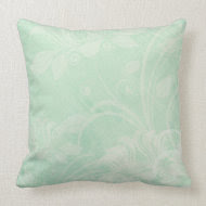 Mint green textured vintage styled throw pillow
