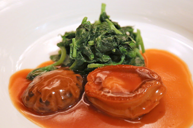 Braised Whole 5-Head African Abalone with Seasonal Greens