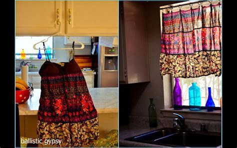 Before and After: upcycled dress curtain.   Upcycling