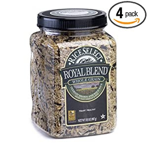 Rice Select Royal Blend, Whole Grain Texmati Brown & Wild Rice with Soft Wheat & Rye Berries, 28-Ounce Jars (Pack of 4)