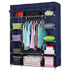 Zimtown 5-Tier Fabric Wardrobe Portable Closet 12 Compartments Non-woven Organizer (Navy)