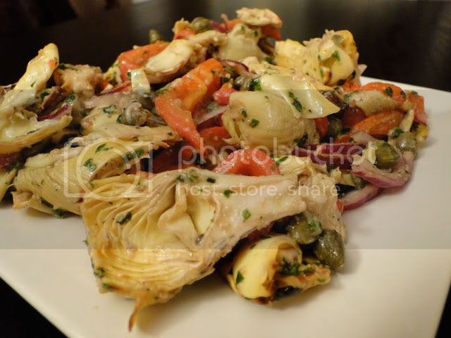 Roasted artichoke hearts and red pepper salad