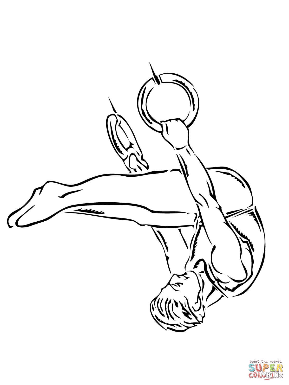 Prestation de gymnastique aux anneaux