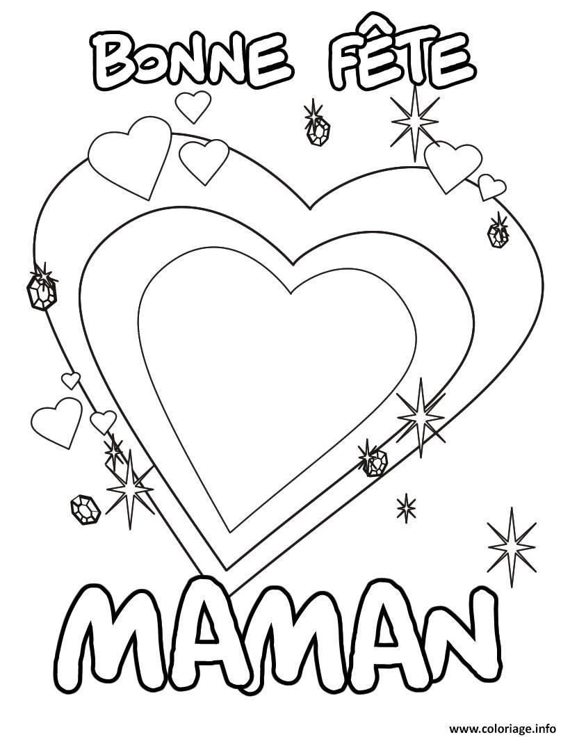 Coloriage Bonne Fete Maman Coeur Jecoloriecom