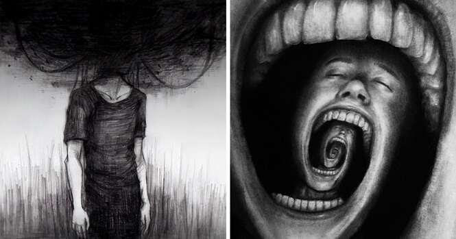 Ilustrações arrepiantes retratando o que é a depressão
