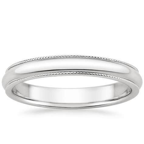 3mm Milgrain Wedding Ring in 18K White Gold