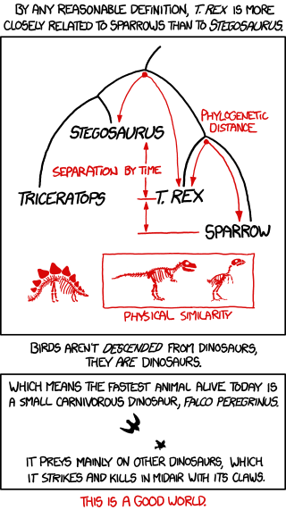 Sure, T. rex is closer in height to Stegosaurus than a sparrow. But that doesn't tell you much; 'Dinosaur Comics' author Ryan North is closer in height to certain dinosaurs than to the average human.