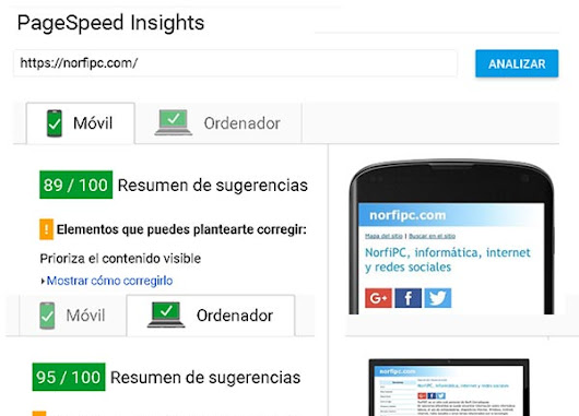 Analizar y optimizar una página con PageSpeed Insights