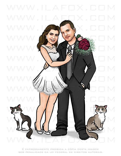 caricatura proporcional, caricatura bonita, caricatura noivos, caricatura digital, caricatura para casamento, caricatura casal, ila fox