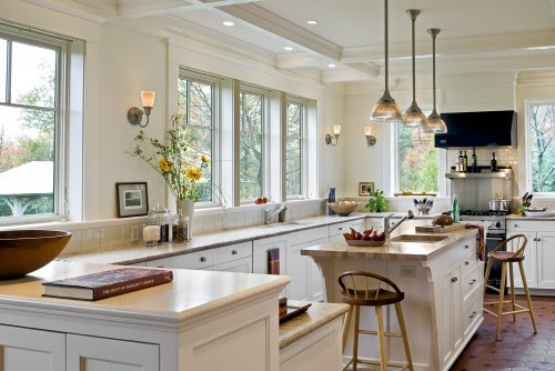 georgianadesign:  Windows instead of upper cabinets make a unique kitchen in Hanover, NH. Smith & Vansant Architects PC.