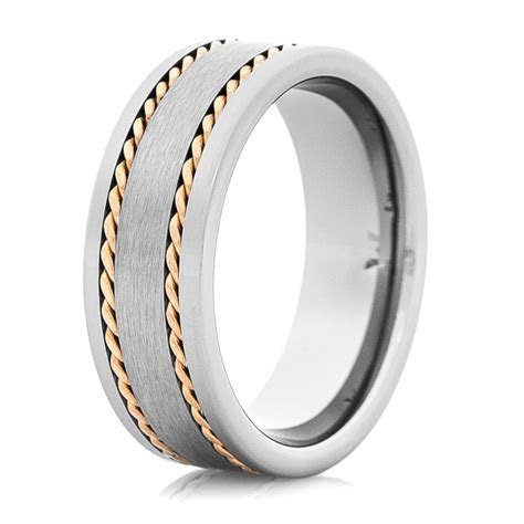 Tungsten Wedding Band with 14K Rose Gold