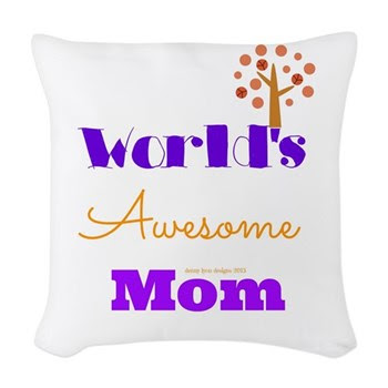 World's Awesome Mom Woven Throw Pillow