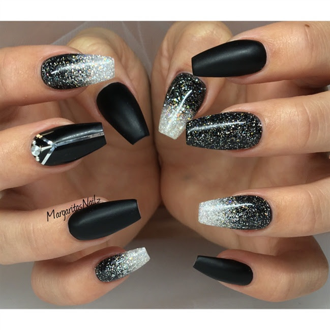 Black Matte And Glitter Ombré Nails Nail Art Gallery