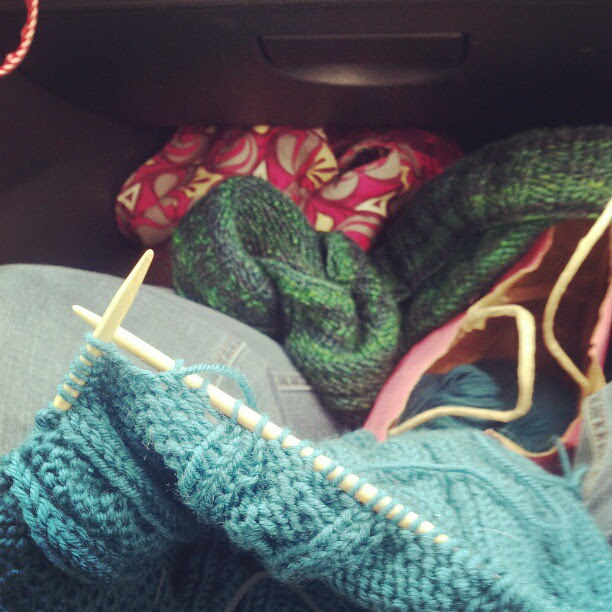Car traveling w/ crafts all around me! Blanket, scarf, birdie sling, and in the corner a pouch