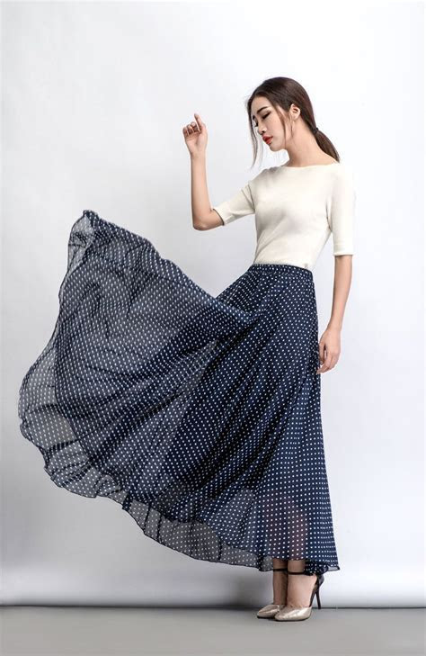 Chiffon skirt, polka dot maxi skirt, floaty skirt, long