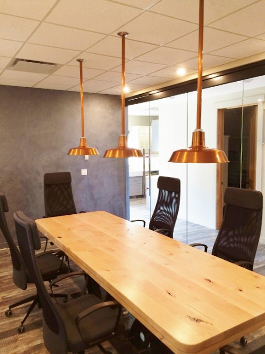 Copper Pendants Add Warmth to New Office | Blog | BarnLightElectric.com