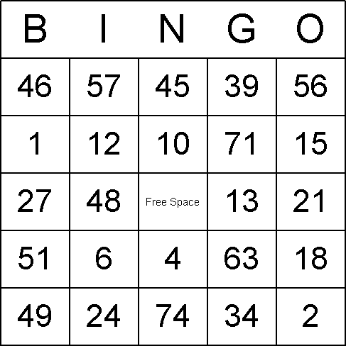 Printable bingo grid
