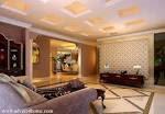 white-cream square pop ceiling design in living room