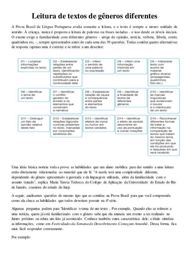 Leitura de textos de gêneros diferentes