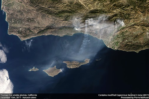 Quickie: Thomas Fire, California, Smoke Plumes - December 15  In this image, taken by the European Sentinel...