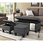 Picket House Furnishings Everett 3 Piece Ottoman Set in Charcoal - UEH090100CA