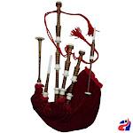 Scottish Highland Bagpipe Red Velvet and Fringe Imitation Ivory Mounts - Red Velvet