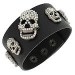 Fashion Alloy Black Faux PU Leather White CZ Skull Wristband Bracelet