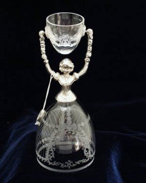Etched Crystal and Pewter German Bridal Wedding Cup
