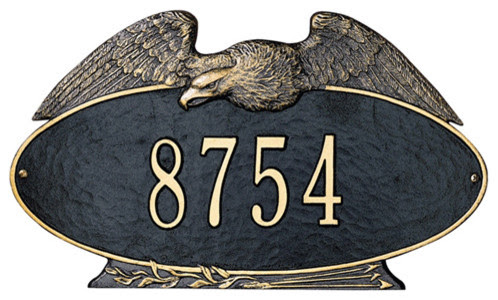 Whitehall Oval Eagle Address Plaque - traditional - outdoor decor -