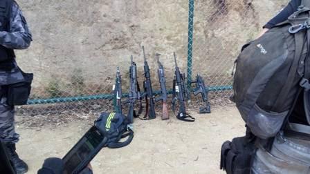 Armas apreendidas pela polícia no Pavão-Pavãozinho