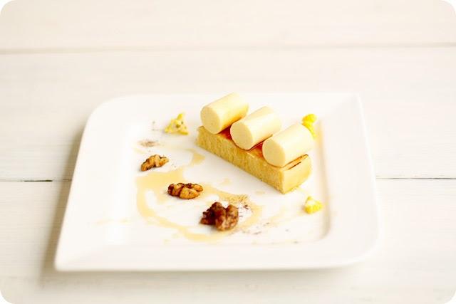 Corn Panna Cotta, Lemon Madeleine & Spiced Walnuts