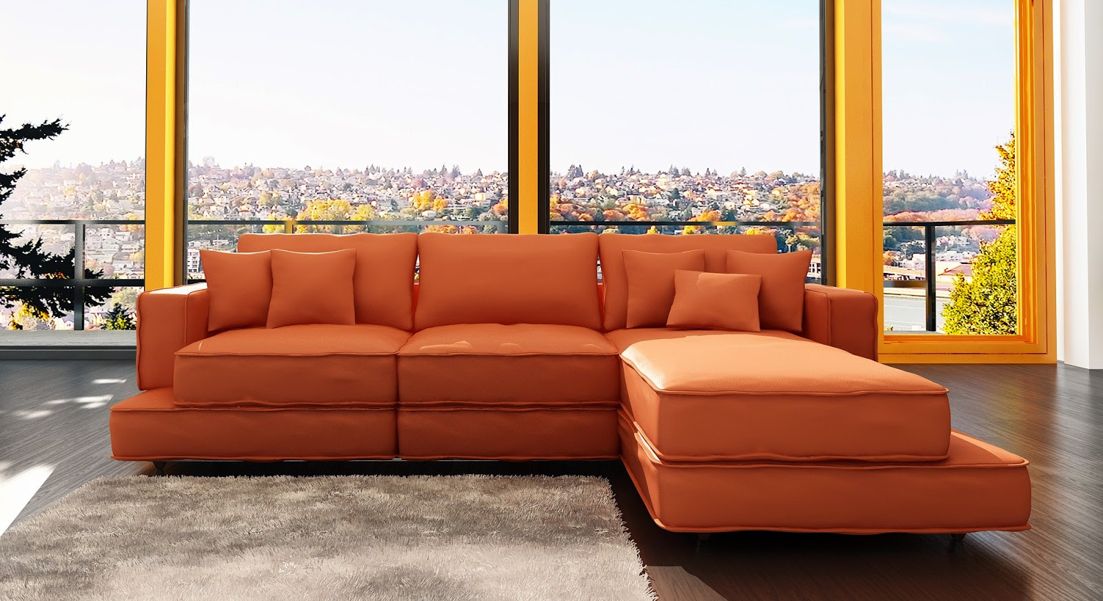 Living Room With Orange Couch Nagpurentrepreneurs
