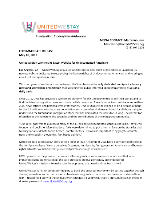 Press Release – UnitedWeStay Launches its Latest Website for Undocumented Americans