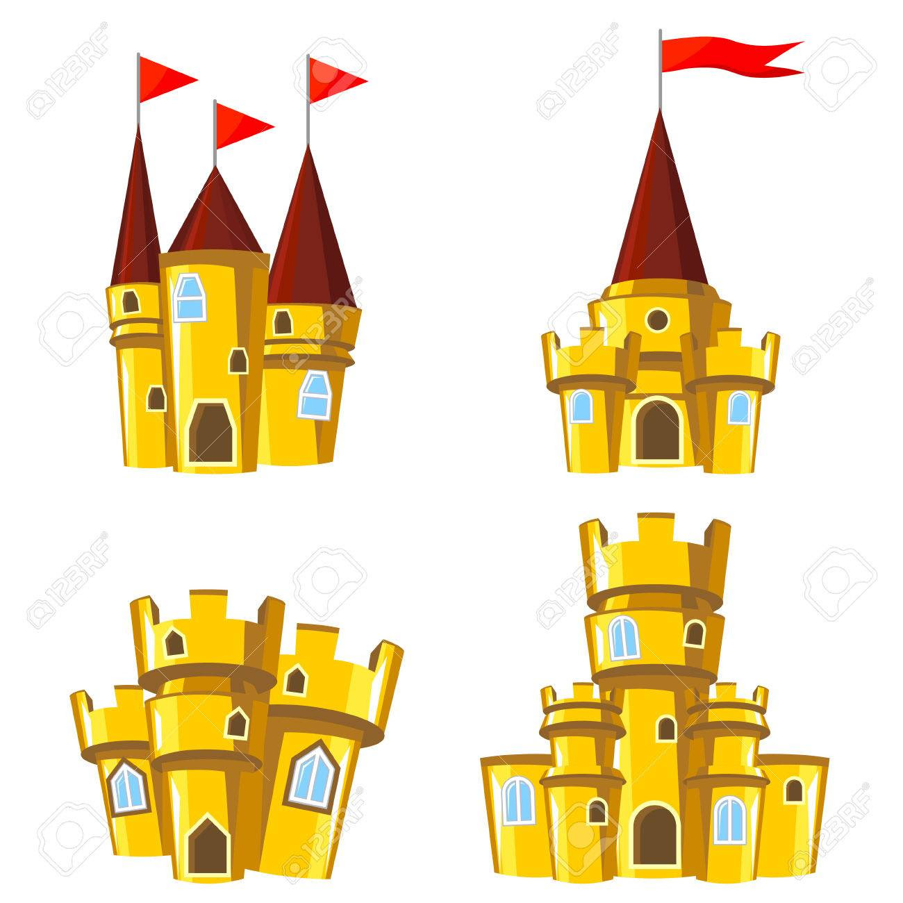 Set Of Four Editable Gold Castles For Game Design Royalty Free ...