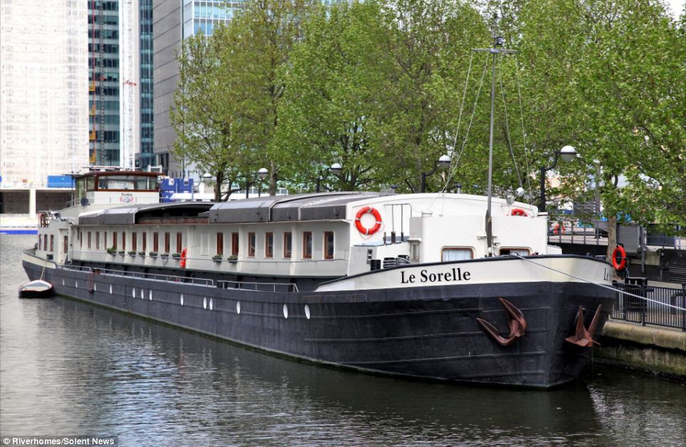 Prime location: Le Sorelle is currently being moored at Canary Wharf in London