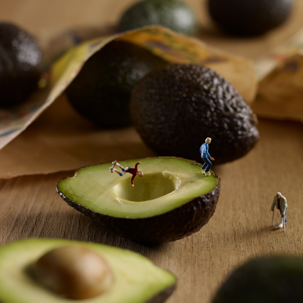 Culinary Photographers Create Edible Backdrops for a World of Miniature Inhabitants miniature food dioramas