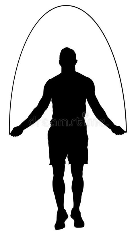 Sportsman Skipping With Jump Rope Silhouette. Stock
