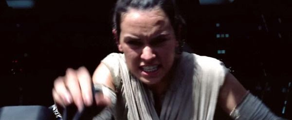 A screenshot from the first TV spot for STAR WARS: THE FORCE AWAKENS.